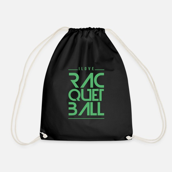 Gaming Bags & Backpacks - Racquetball Player Racquet Racquetballer Team - Drawstring Bag black