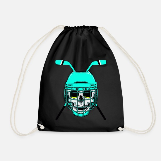 Gift Idea Bags & Backpacks - Hockey hockey player hockey puck - Drawstring Bag black