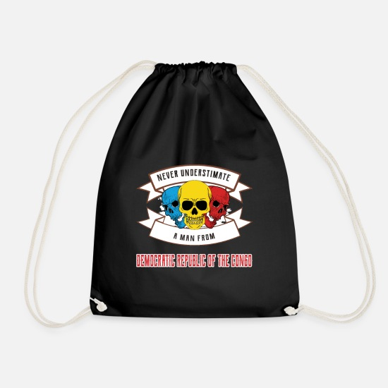 Travel Bags & Backpacks - Never underestimate anyone from the Democratic Republic - Drawstring Bag black