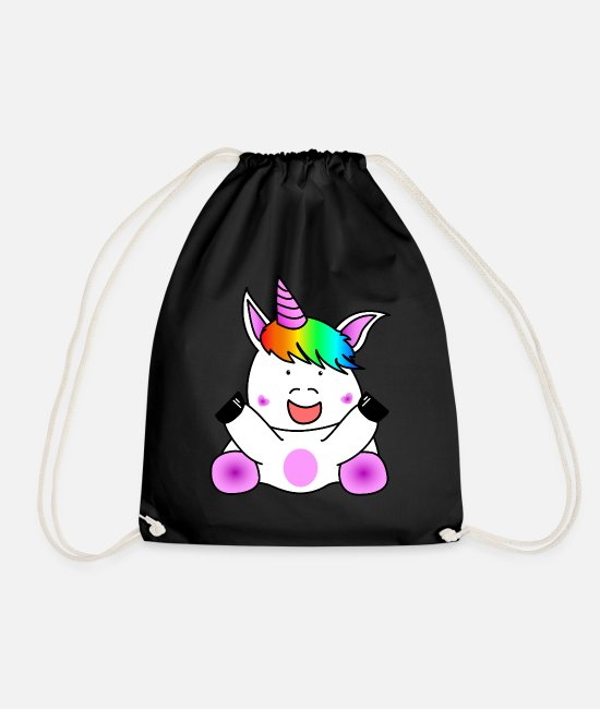 Rainbow Bags & Backpacks - Unicorn unicorn - Drawstring Bag black