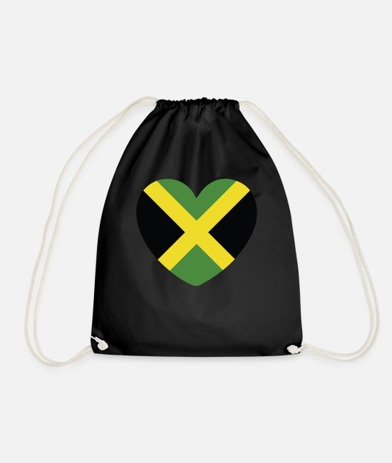English Bags & Backpacks - COOL JAMAICA FLAG DESIGN - Drawstring Bag black