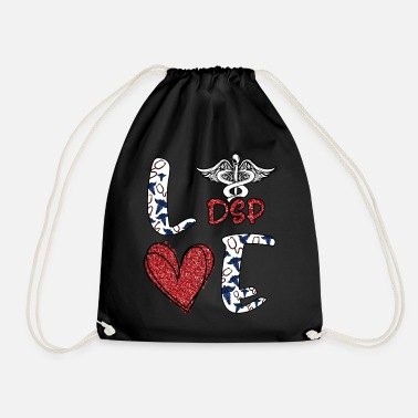 Heart Love DSP Caduceus Direct Support Professional - Drawstring Bag