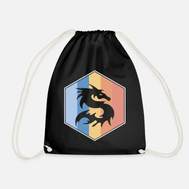South Dragon retro and vintage hexagon - Drawstring Bag