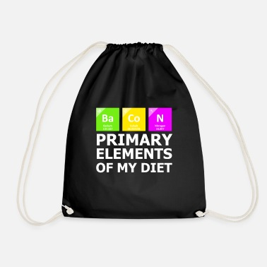 Periodic Table Bacon Primary Elements OF My Diet - Drawstring Bag