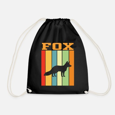 Animal Welfare Fox retro play of colors - Drawstring Bag