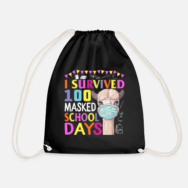 I Survived 100 Masked School Days Shirt 100th Day - Drawstring Bag