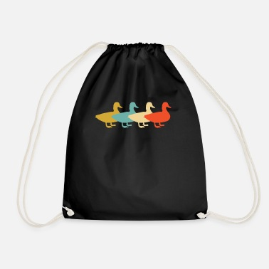 Family With Several Ducks duck retro vintage - Drawstring Bag