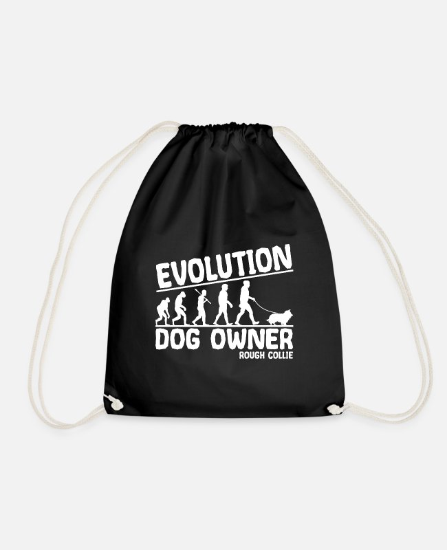 Long Hair Collie Bags & Backpacks - Longhair Collie Dog Owners Evolution Funny - Drawstring Bag black