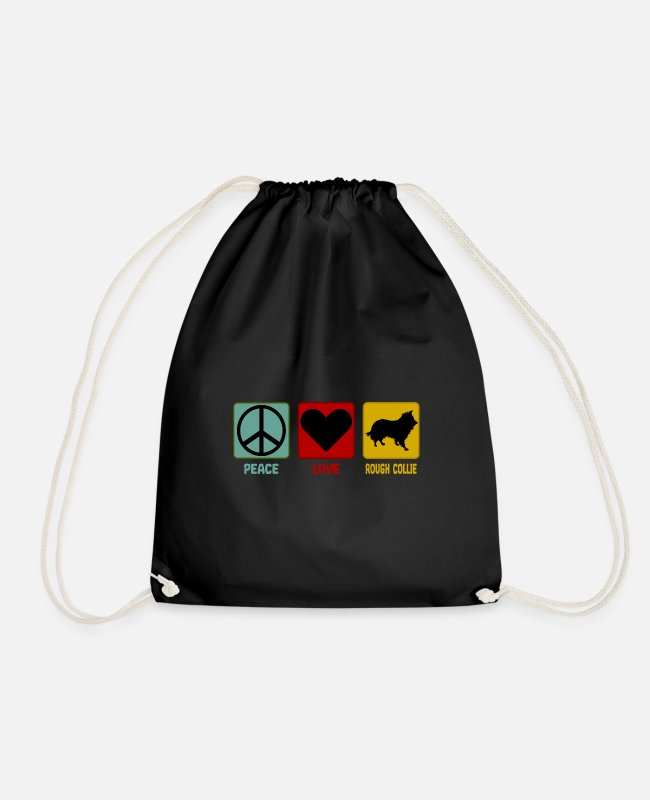 Heart Bags & Backpacks - Longhair Collie Peace Love Saying Funny Retro - Drawstring Bag black