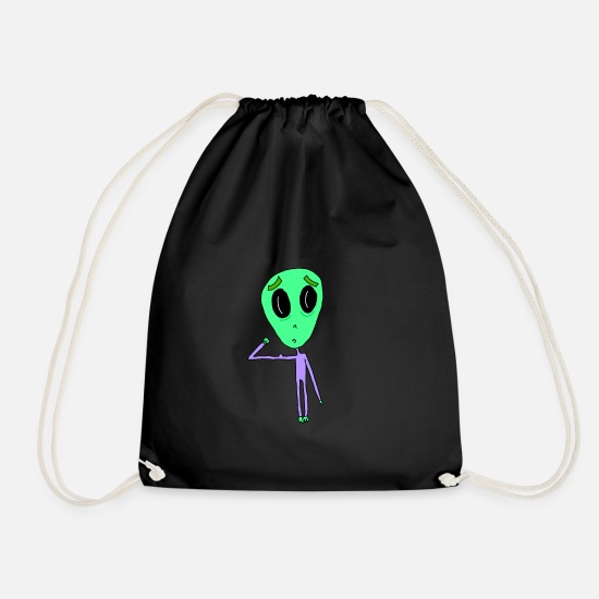 Fitness Bags & Backpacks - Alien with biceps fit in the cosmos - Drawstring Bag black