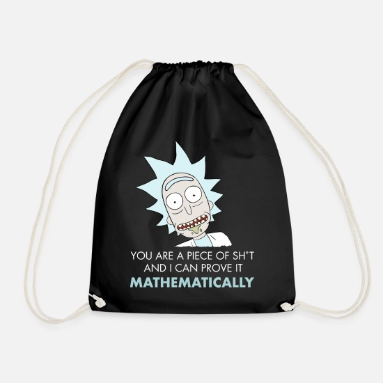 Funny Bags & Backpacks - Rick And Morty Mathematical Proof Quote - Drawstring Bag black