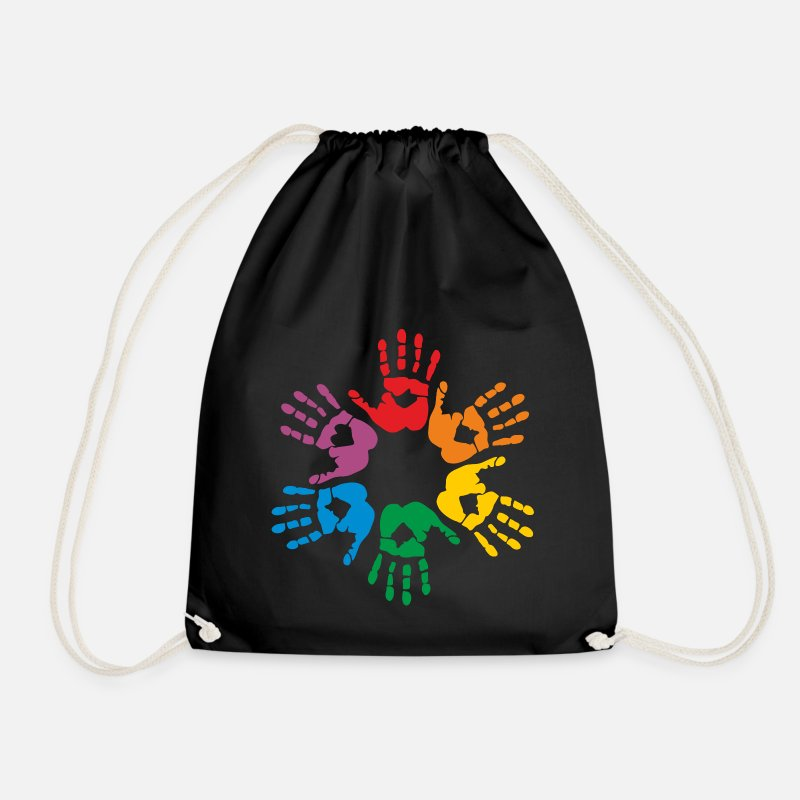 Equalizer Bags & Backpacks - Rainbow hands - Drawstring Bag black