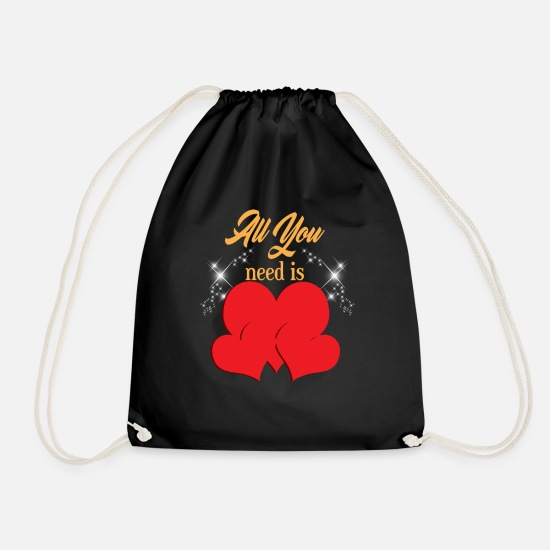Love Bags & Backpacks - what you need is love - Drawstring Bag black