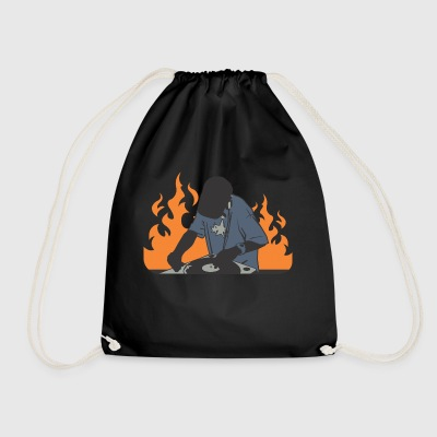 Dj on the turntables - Drawstring Bag