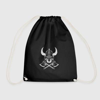 Viking skull with axes - Drawstring Bag