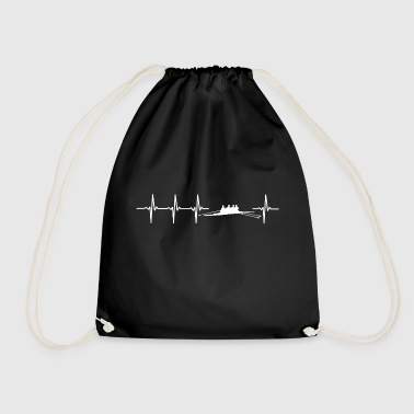 I love rowing (rower heartbeat) - Drawstring Bag