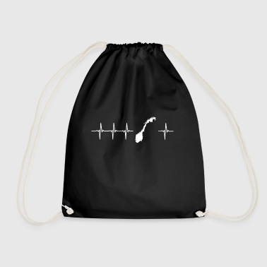 I love Norway (Norway heartbeat) - Drawstring Bag
