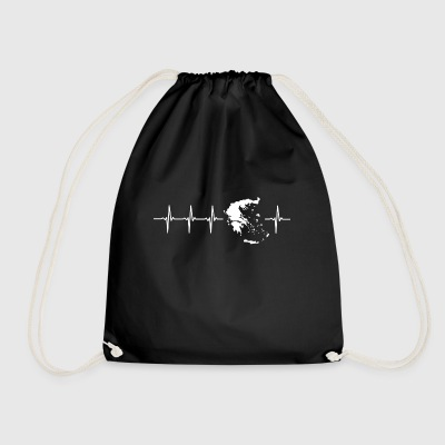 I love Greece (Greece heartbeat) - Drawstring Bag