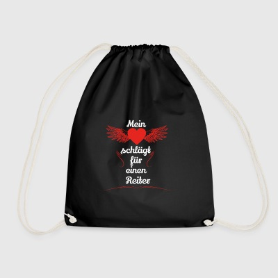 gift heart beats girlfriend rider - Drawstring Bag