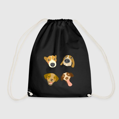 Dogs heads - Drawstring Bag
