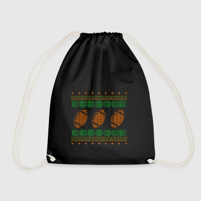 american football ugly sweater xmas gift - Drawstring Bag