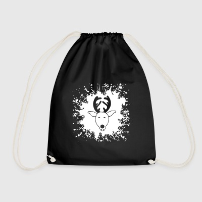 Splash reindeer head reindeer - Drawstring Bag
