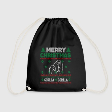 Cute Kids Gorilla Ugly Christmas Tshirt - Drawstring Bag