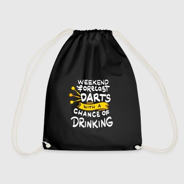 Weekend Forecast darts with a chance of drinking - Drawstring Bag
