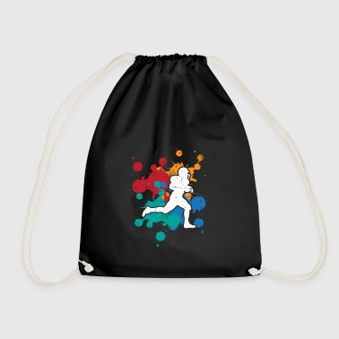 Sport Football Rugby color splash gift painter - Drawstring Bag