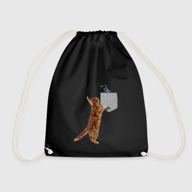 Cat Reaching For Crow In Fake Funny Print-On - Drawstring Bag