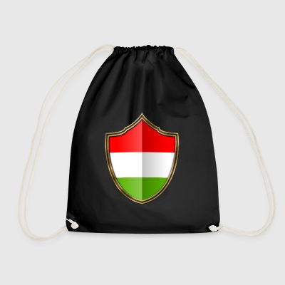Hungary flag coat of arms gold 016 - Drawstring Bag