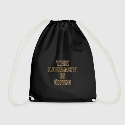 The Library Is Open Wood - Drawstring Bag