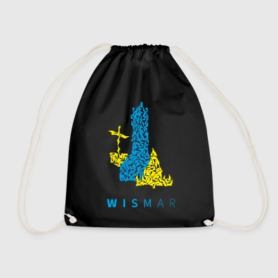 Wismar triangle Illustration blue yellow - Drawstring Bag