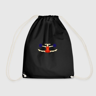 A Cheerleader With Pom Poms - Drawstring Bag