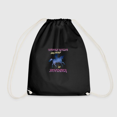 Unicorn queens are born in november - Drawstring Bag
