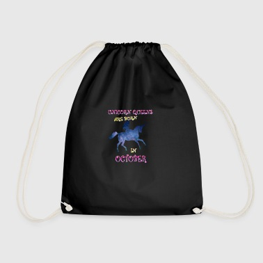Unicorn queens are born in october - Drawstring Bag