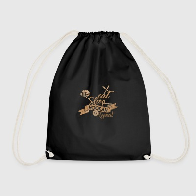 EAT SLEEP HOOKAH REPEAT - Drawstring Bag