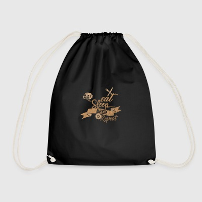 EAT SLEEP BEER REPEAT - Drawstring Bag