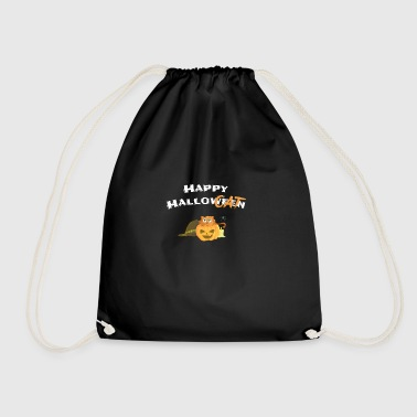 Happy Halloween / Cat in Pumpkin - White - Drawstring Bag