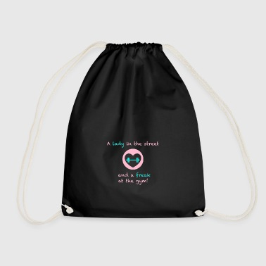 A lady in the street and a freak at the gym - Drawstring Bag