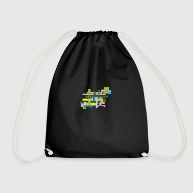 abstract full and empty rectangles - Drawstring Bag
