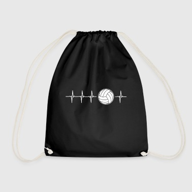 I love volleyball (volleyball heartbeat) - Drawstring Bag