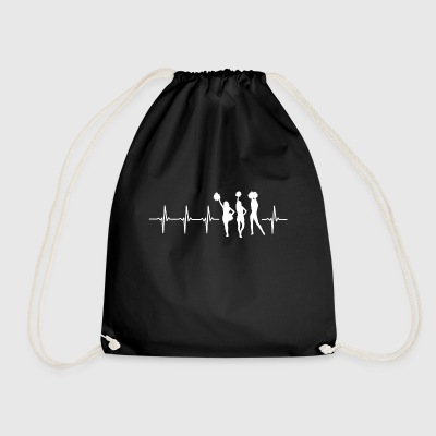 I love cheerleading (cheerleading heartbeat) - Drawstring Bag