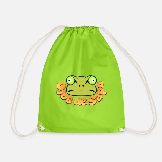 Comic Bags & Backpacks - Frog eyes - Drawstring Bag neon green