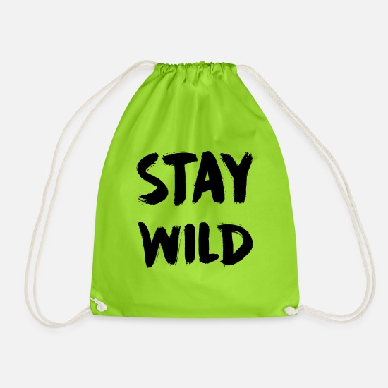 Guy Bags & Backpacks - STAY WILD - Drawstring Bag neon green