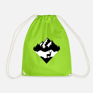 Deer, Forrest and Mountains - Drawstring Bag