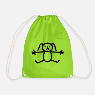 Stick figure hello hug drawing girl - Drawstring Bag