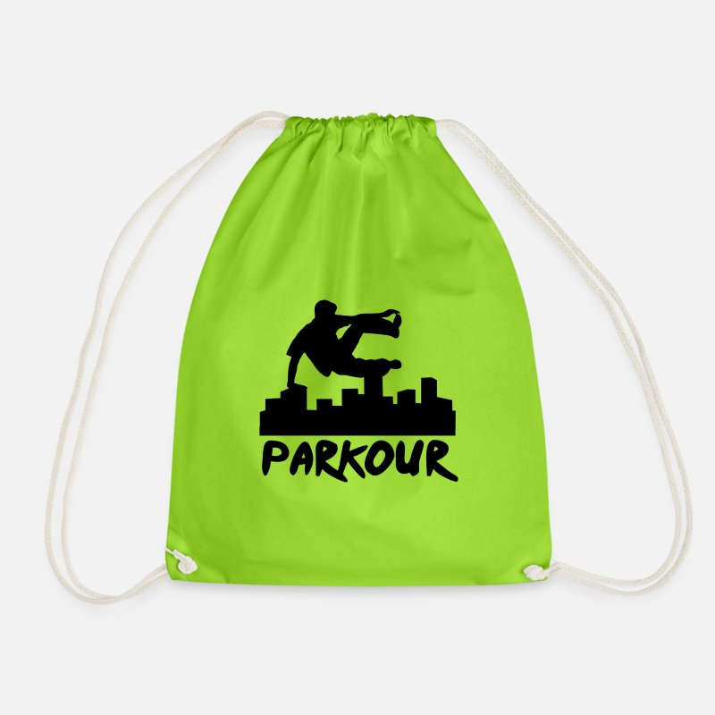 Parkour Bags & Backpacks - Free running in the city, parkour - Drawstring Bag neon green