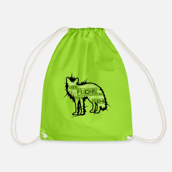 Forest Animal Bags & Backpacks - Forest animal - shy fox - - Drawstring Bag neon green