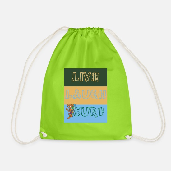 Play Bags & Backpacks - SURF SURFING LIVE LAUGH RETRO FREEDOM - Drawstring Bag neon green
